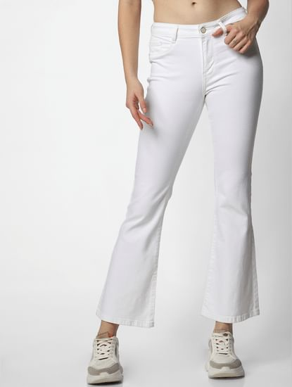 White Mid Rise Boort Cut Jeans