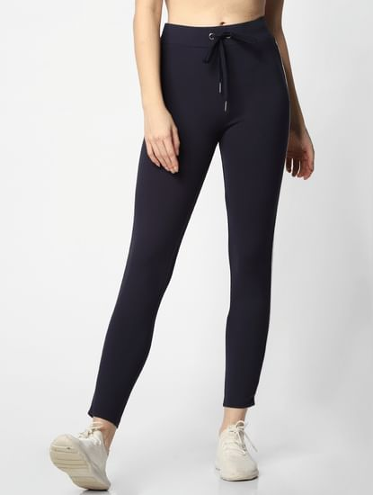 Blue Mid Rise Slim Fit Leggings
