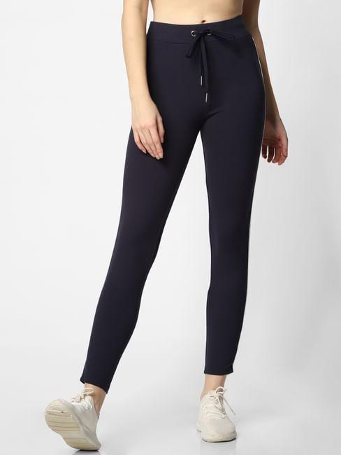 Blue Mid Rise Slim Fit Leggings