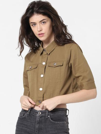 Green Cropped Denim Jacket