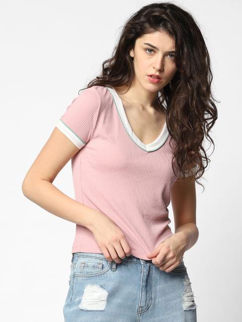 Pink Ribbed T-shirt