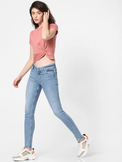 Pink Front Knot T-shirt