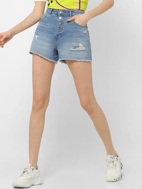 Blue High Rise Ripped Denim Shorts