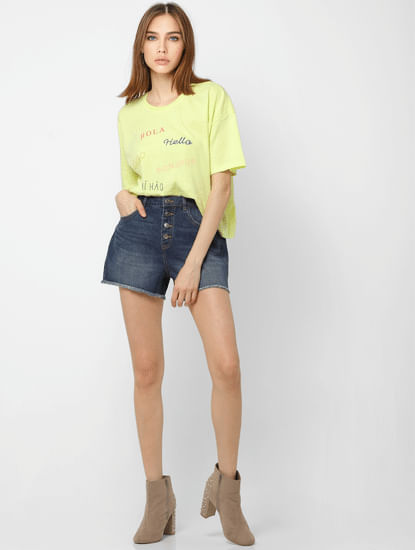 Blue High Rise Frayed Hem Denim Shorts