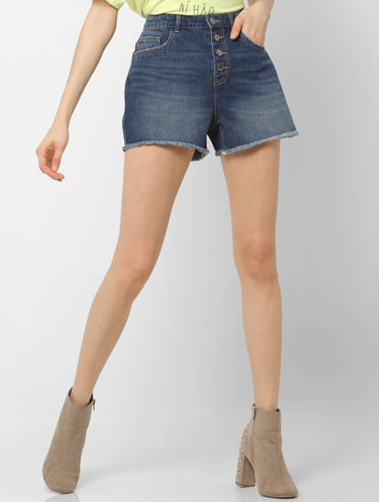 Blue High Rise Frayed Hem Denim Shorts