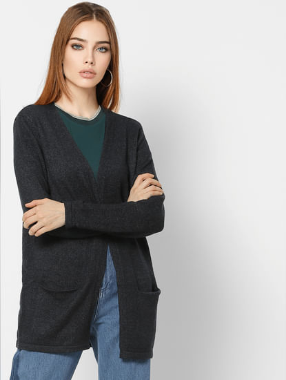 Dark Grey Front Open Cardigan
