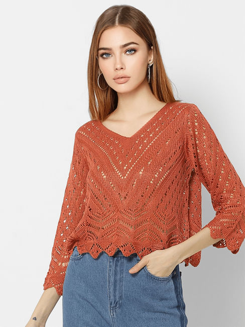 Rust Cut-Out Detail Cropped Pullover