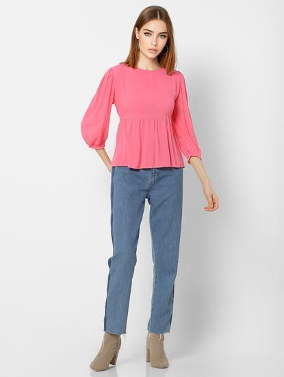 Pink Cinched Waist Top