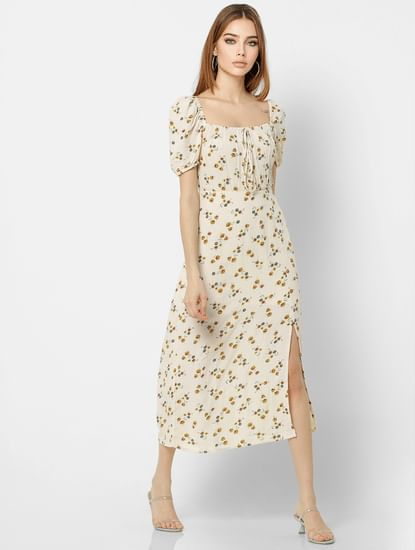 Off-White Floral Print Midi Dress