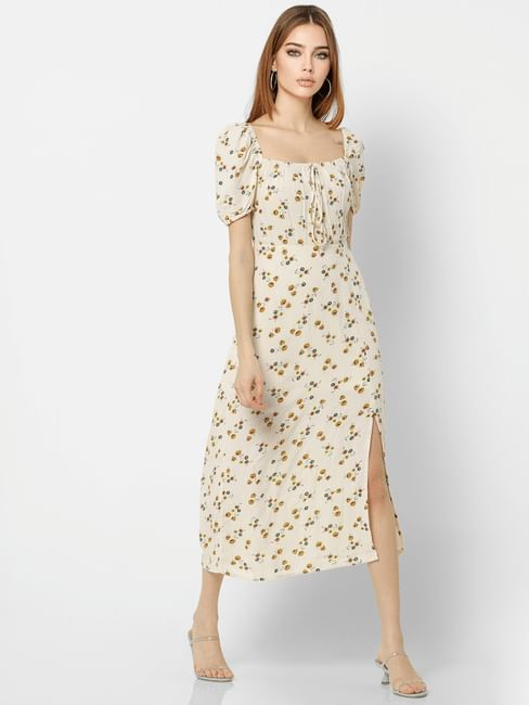 Off-White Floral Print Midi Dress