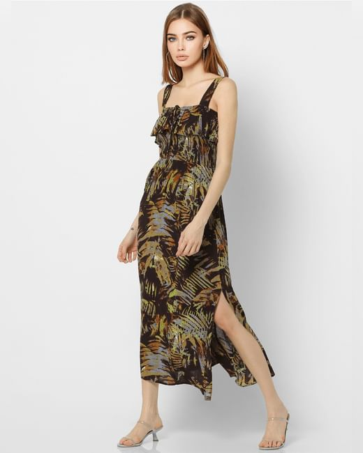 Green Tropical Print Midi Dress