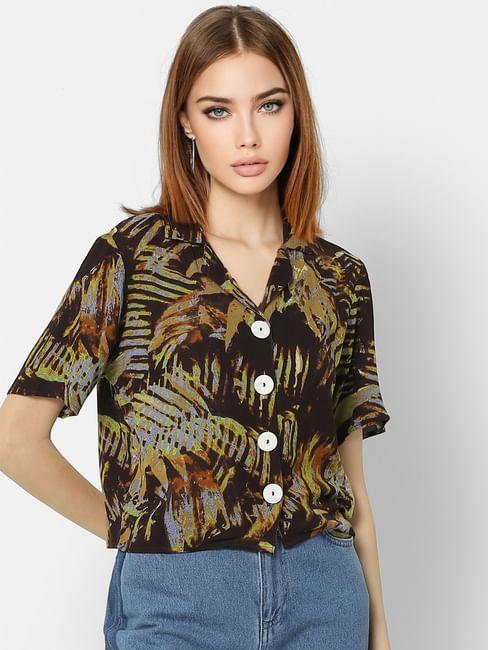 Green Tropical Print Shirt