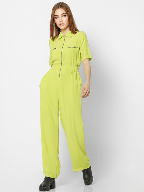 Green Zip-Up Jumpsuit