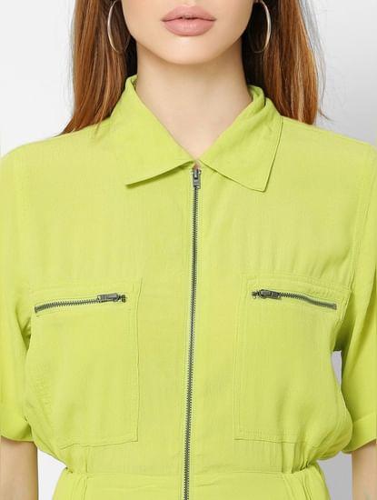 Green Zip-Up Jumpsuit