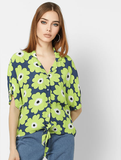 Green Floral Print Shirt