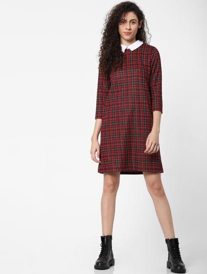 Red Check Print Shirt Dress