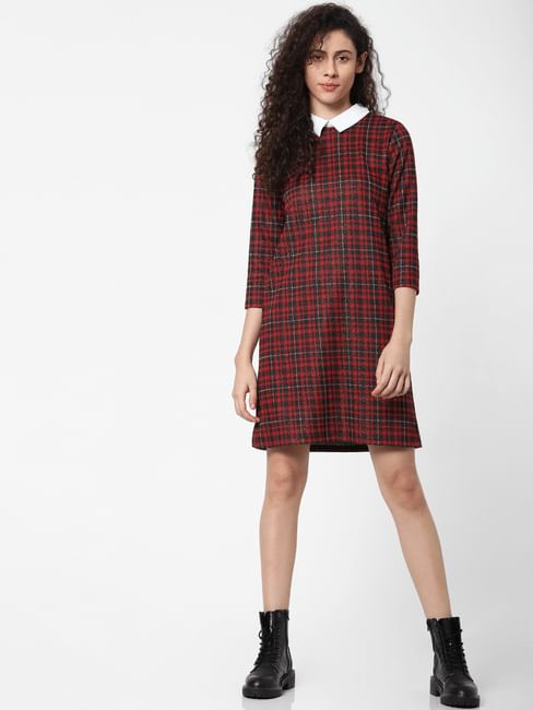 Red Check Print Shirt Dress