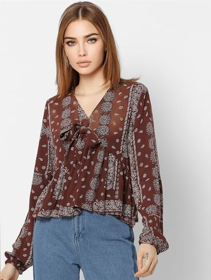 Burgundy All Over Print Top