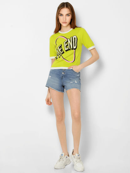 Neon Yellow Graphic Print Pullover