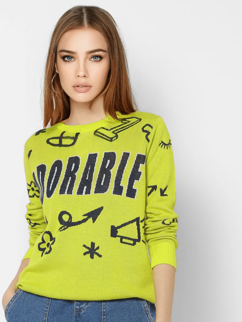 Neon Yellow All Over Print Pullover