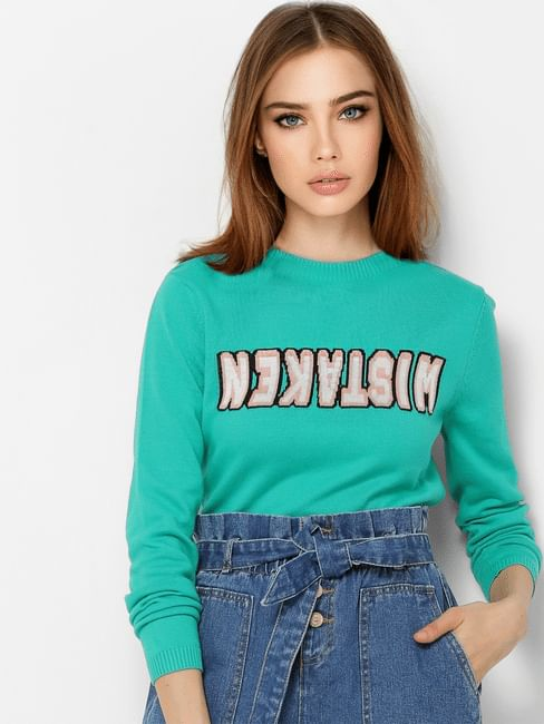 Green Text Print Pullover