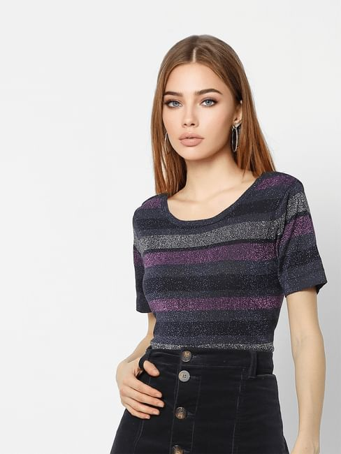 Navy Blue Shimmer Striped Top