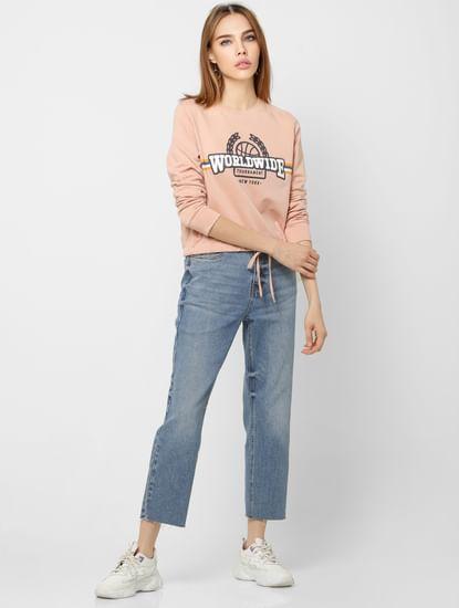 Pink Typographic Print Sweatshirt