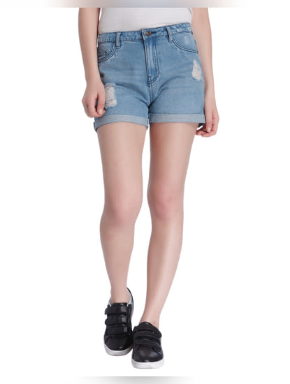Blue Low Rise Ripped Denim Shorts