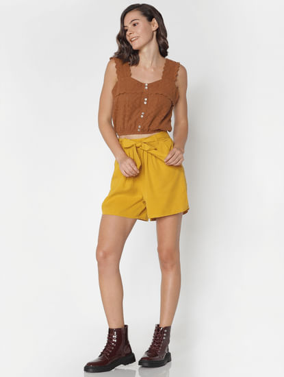 Yellow Mid Rise Shorts