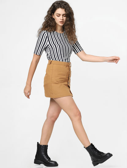 Brown High Rise Mini Skirt
