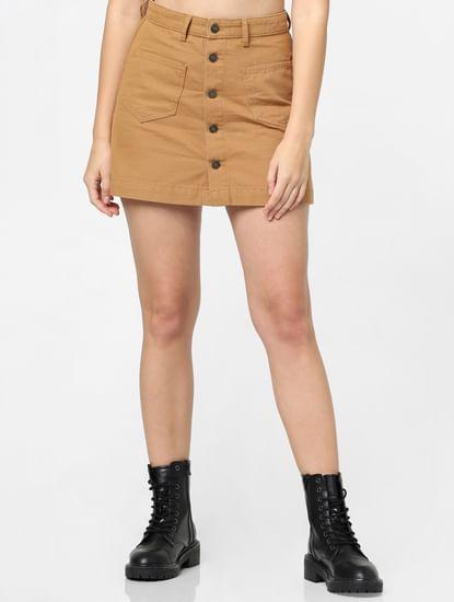 Brown High Rise Mini Skirt