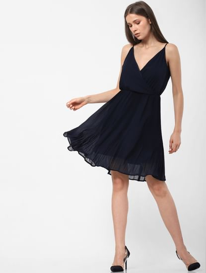 Navy Blue Pleated Skater Dress