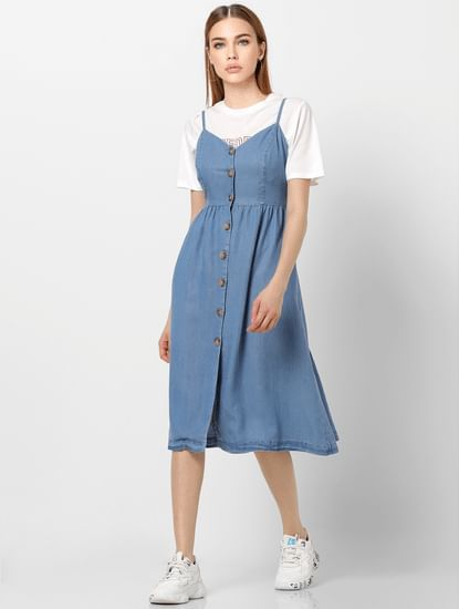 Blue Button Down Denim Midi Dress