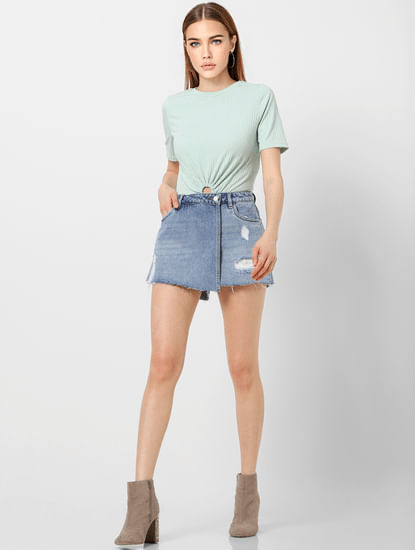 Blue Low Rise Distressed Skorts