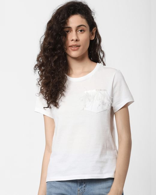 White Feather Detail T-shirt