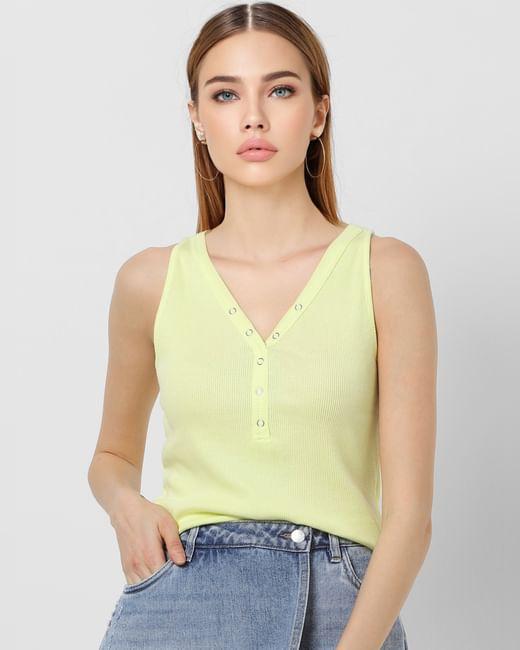 Green Ribbed Top