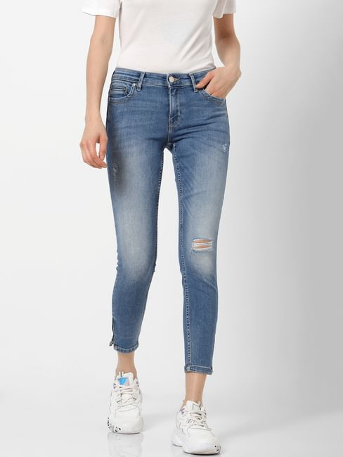 Blue Mid Rise Zip Detail Skinny Fit Jeans