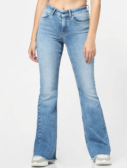 Blue Mid Rise Retro Flared Jeans