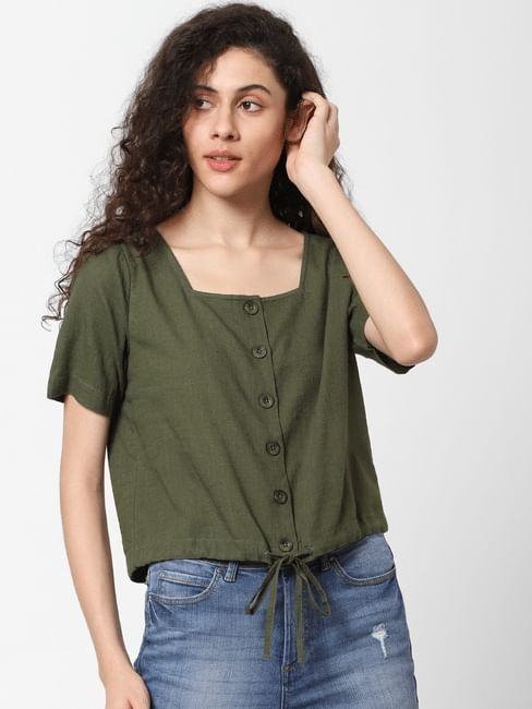 Green Drawstring Waist Top