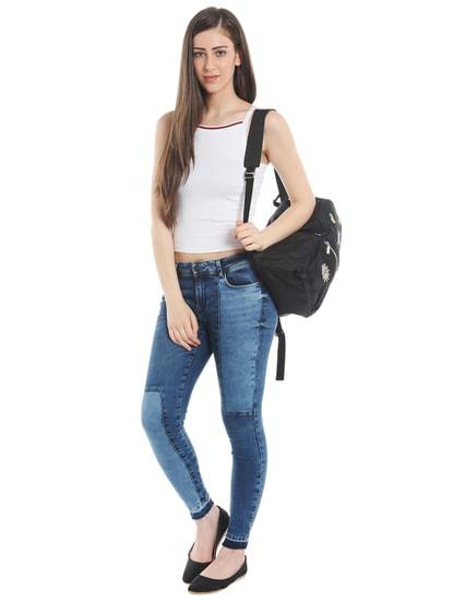 Blue Patchwork Skinny Fit Jeans