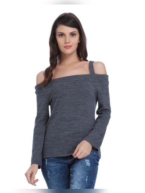 Dark Grey Cold Shoulder Top