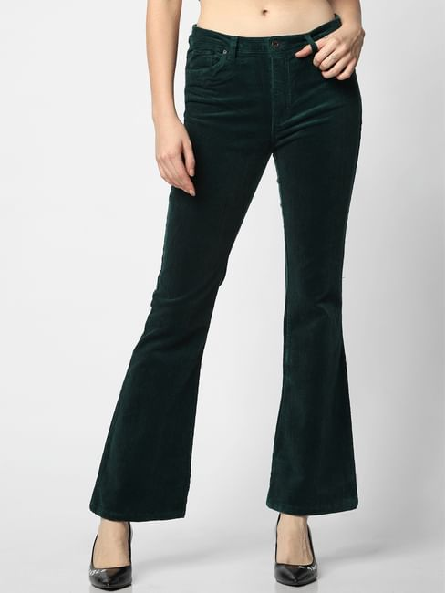 Green Mid Rise Corduroy Flared Pants