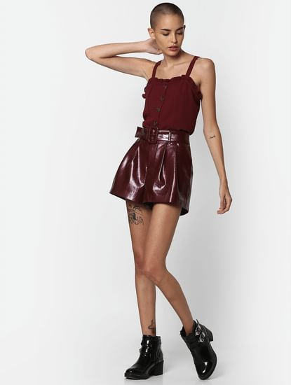 Burgundy Buttoned Top