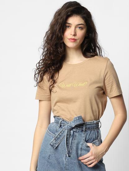 Brown Text Print T-shirt