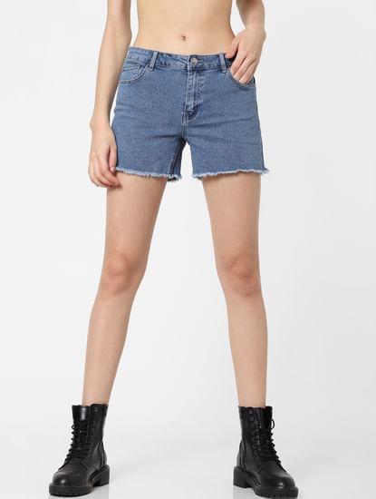 Light Blue Mid Rise Denim Shorts