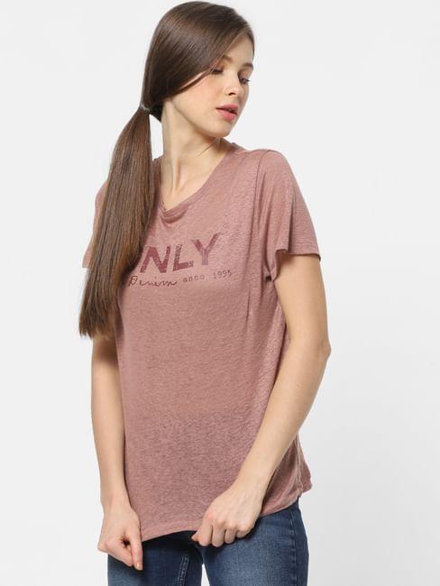 Brown Logo Print T-shirt