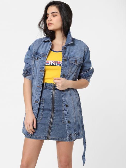 Blue Washed Long Denim Jacket