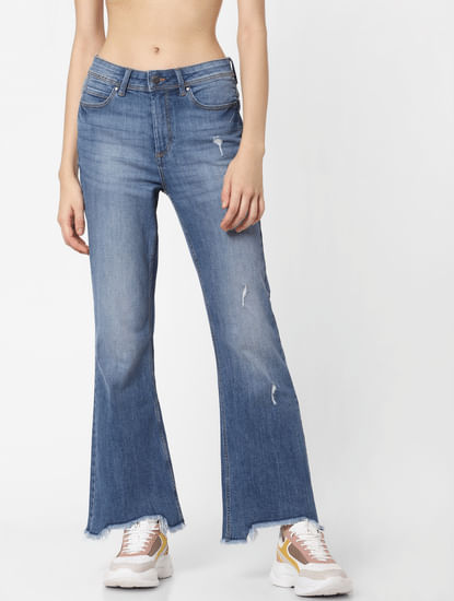 Blue High Rise Flared Jeans