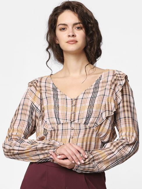 Pink Check Cropped Top