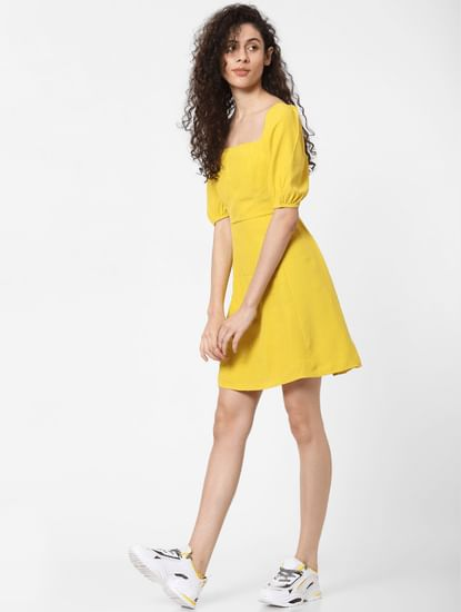 Yellow Fit & Flare Dress